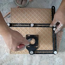Keuriger Alat Bantu Penanda Six Sided Ruler Measuring Instrument With Hole Locator - A50 - Black - 5