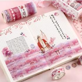 Moonovol Lakban Stiker Hias Buku Diary Album Foto Scrapbook Tape 10 Roll - TH0100 - Pink