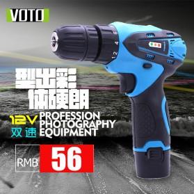 Voto Bor Listrik Cordless Screwdriver Drill Dual Speed 12V With Lamp - VT01 - Blue