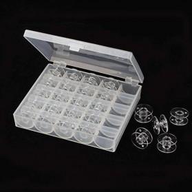 OZXHIXU Kotak Benang Jahit Sewing Machine Bobbins Spools Storage Box with 25 Gulungan Benang - OZ234 - Transparent