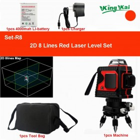 King Kai Mesin Self Leveling 8 Line Laser 3D High-precision - HZ8 - Red