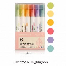 Jianwu Highlighter Spidol Stabilo Marker Liner 6 PCS - HP7251A - Multi-Color