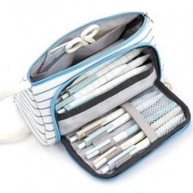 Angoo Tempat Pensil Large Capacity Pencil Case Pouch Stationery Motif Garis - YN316 - Blue