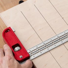 FNICEL Penggaris Combination Square Angle Ruler Woodworking 12 Inch - 0121 - Red - 6
