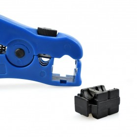 Newacalox Automatic Cable Wire Stripper Cutter for UTP/STP RG59 RG6 RG7 RG11 - HLT505 - Blue - 6