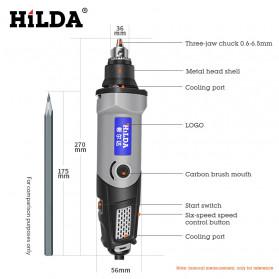 Hilda Bor Listrik Polishing Engraver Grinder Electric Drill 400W - MD400 - 9