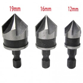 Mayitr Mata Bor Drill Bit Countersink Carbon Steel 12 16 19mm 3 PCS - Silver