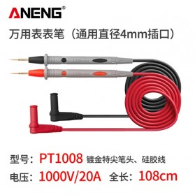 ANENG Kabel Digital Multimeter Silicon Rubber Wire Retardant 20A 1000V - PT1008 - Black/Red