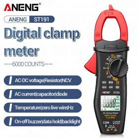 ANENG Digital Multimeter Voltage Tester Clamp - ST191 - Red