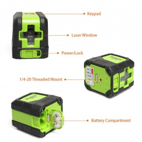 Huepar Self Leveling Projector Green Laser 2 Line Horizontal Vertical - 9011G - Black/Green - 4