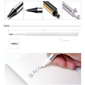 KACO TUBE Gel Pen Pena Pulpen Bolpoin Stainless Steel 0.5mm 1 PCS - K1024 (Black Ink) - Black Gold - 9