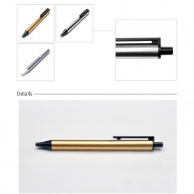 KACO TUBE Gel Pen Pena Pulpen Bolpoin Stainless Steel 0.5mm 1 PCS - K1024 (Black Ink) - Stainless Steel Color - 5