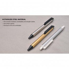 KACO TUBE Gel Pen Pena Pulpen Bolpoin Stainless Steel 0.5mm 1 PCS - K1024 (Black Ink) - Stainless Steel Color - 6