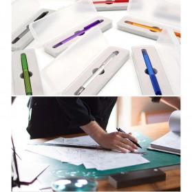 KACO TUBE Gel Pen Pena Pulpen Bolpoin Stainless Steel 0.5mm 1 PCS - K1024 (Black Ink) - Stainless Steel Color - 8