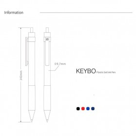 KACO KEYBO Gel Pen Pena Pulpen Bolpoin Transparent 0.5mm 3 PCS - K1003(Black Blue Red Ink) - Mix Color - 13