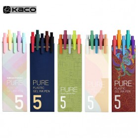KACO PURE Classic II Gel Pen Pena Pulpen Bolpoin 0.5mm 5 PCS (Colorful Ink) - Mix Color - 19