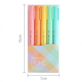 KACO PURE H Plastic Highlighter I Spidol Stabilo Marker Liner 5 PCS - K1045 (Colorful Ink) - Mix Color - 14