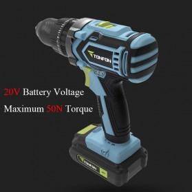 Tonfon Wireless Electric Cordless Power Drill Bor Listrik 20V - TFN03 - Black/Blue