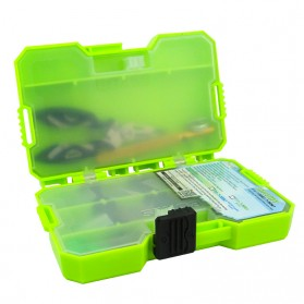 Jakemy Fishing Accessories Tool Kit with Storage Box + Fishing Pliers + Tied Hook Device - JM-PJ5002 - Green