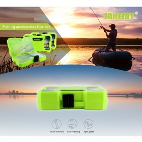 Jakemy Fishing Accessories Tool Kit with Storage Box + Fishing Pliers + Tied Hook Device - JM-PJ5002 - Green - 2