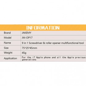 Jakemy Alat Reparasi Smartphone Roller Opener - JM-OP17 - Black/Orange - 7
