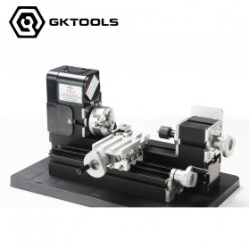 GKTOOLS Mesin Bubut Mini  Lathe Wood Metal DIY (FALSE CREATE) - Black