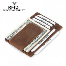 BUBM Dompet Kartu Anti RFID Bahan Kulit - FM-104 - Brown