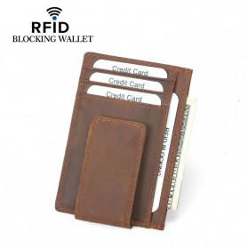 BUBM Dompet Kartu Anti RFID Bahan Kulit - FM-104 - Brown - 2