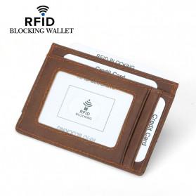 BUBM Dompet Kartu Anti RFID Bahan Kulit - FM-104 - Brown - 3