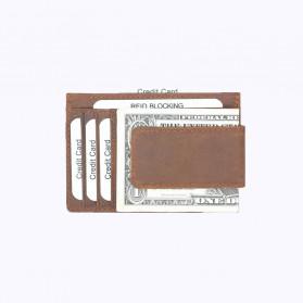 BUBM Dompet Kartu Anti RFID Bahan Kulit - FM-104 - Brown - 4