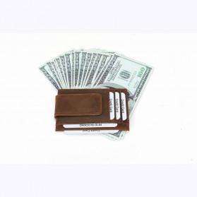 BUBM Dompet Kartu Anti RFID Bahan Kulit - FM-104 - Brown - 5
