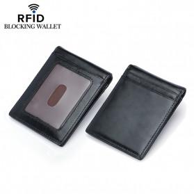 BUBM Dompet Kartu Anti RFID Bahan Kulit - D-2076 - Black
