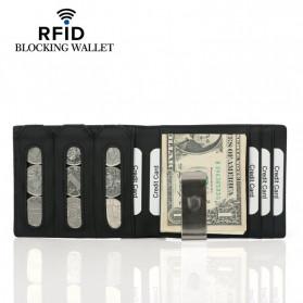BUBM Dompet Kartu Anti RFID Slim Bahan Kulit - YP-215 - Black - 2