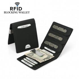 BUBM Dompet Kartu Anti RFID Slim Bahan Kulit - YP-215 - Black - 3