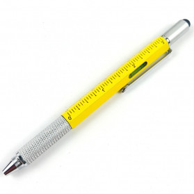 Pena Multifungsi Metal Stylus + Penggaris + Level + Obeng - MYC65 - Yellow