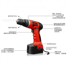 Cordless Rechargeable Electric Drill - DC-D010 / Bor Listrik - Red - 8