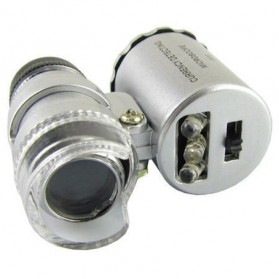 Pocket Microscope 60x Magnifier with UV Light - 9882 - Silver - 3