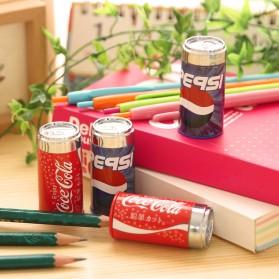 Rautan Pensil Model Kaleng Soda (Random Logo) - Multi-Color
