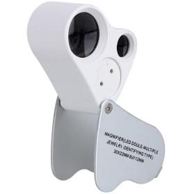 Kaca Pembesar Saku 30x 60x Magnifier Dual Lens - White - 1