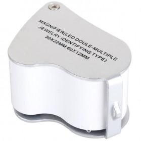 Kaca Pembesar Saku 30x 60x Magnifier Dual Lens - White - 2
