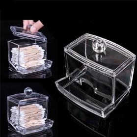 Kotak Acrylic Make Up Kapas Tusuk Gigi Serbaguna - Transparent
