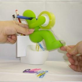 Dispenser Cutter Lakban dan Tempat Alat Tulis Model Green Butt Man - Green - 3