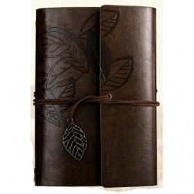 BESTOYARD Buku Catatan Binder Kulit Retro Leaf Kertas A5 - BSD666 - Coffee