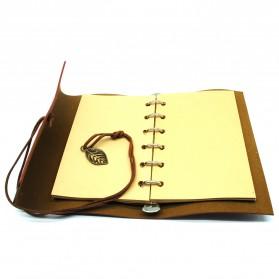 BESTOYARD Buku Catatan Binder Kulit Retro Leaf Kertas A5 - BSD666 - Coffee - 2