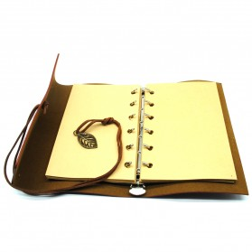 BESTOYARD Buku Catatan Binder Kulit Retro Leaf Kertas A5 - BSD666 - Coffee - 3