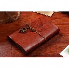 BESTOYARD Buku Catatan Binder Kulit Retro Leaf Kertas A5 - BSD666 - Coffee - 4