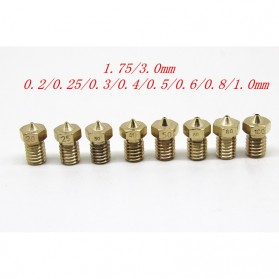 Brass Nozzle Extruder for J-Head 3D Printer V6 V5 1.75mm 0.4mm - Golden - 6