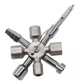 Kunci Pas Multifungsi 10in1 Electrician Plumber Gas Train Bleed Radiator - Silver