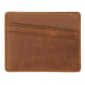 Dompet Kartu Bahan Kulit Anti RFID - Brown