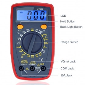 Pocket Size Digital Multimeter AC/DC Voltage Tester - DT33D - Blue - 7